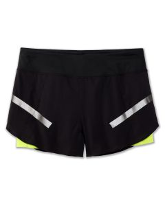 "Brooks Women's Run Visible Carbonite 4"" 2-in-1 Short"