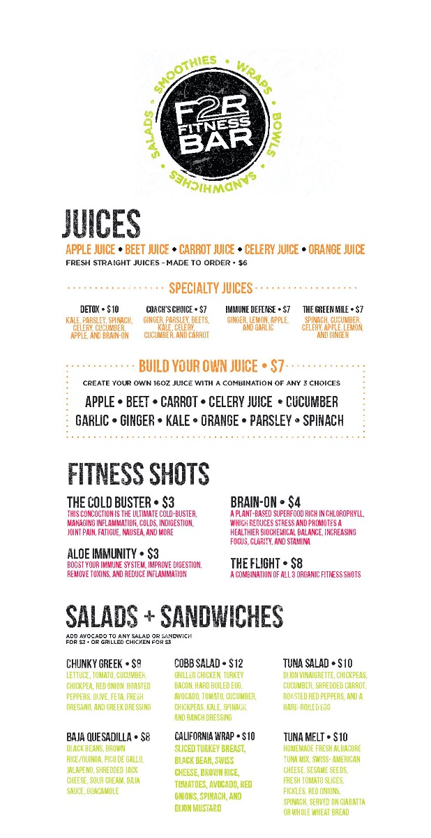 F2R Fitness Bar Menu Page 1